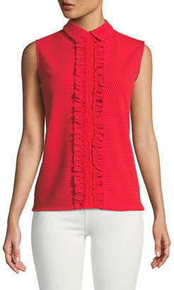 Karl Lagerfeld Paris Ruffle-Front Collared Top