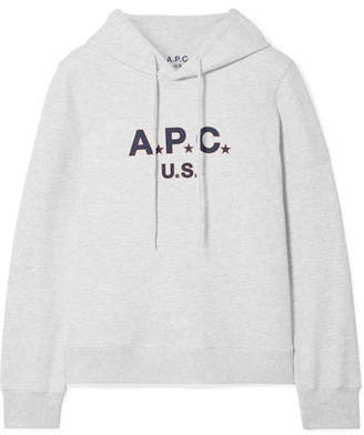 A.P.C. Printed Cotton-blend Terry Hooded Top - Light gray