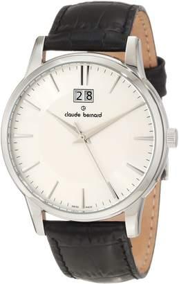 Gents Claude Bernard Men's 63003 3 AIN Classic Dial Black Leather Date Watch
