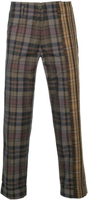 Kolor two-tone plaid print cropped trousers