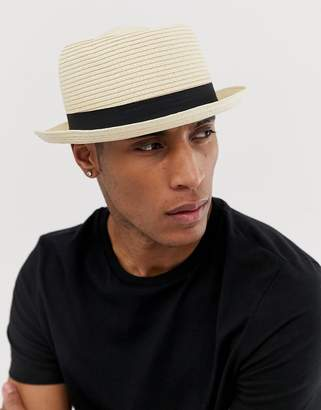 BEIGE ASOS DESIGN straw pork pie hat in