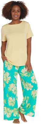 Stan Herman Lush Floral Silky Jersey Palazzo Pant Lounge Set