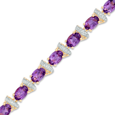 """Oval Amethyst and Diamond Accent Link Bracelet in 10K Gold Vermeil - 7.25"""""""