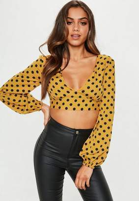Missguided Mustard Polka Dot Print Cupped Crop Top