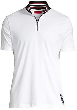 HUGO Men's Daranto Relax-Fit Striped Baseball Collar Polo