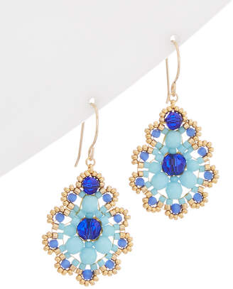 Miguel Ases 14K Filled Beaded Pear Drop Earring