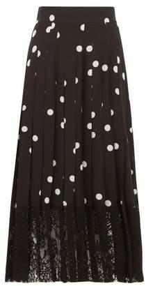 Dolce & Gabbana Lace Trimmed Polka Dot Pleated Silk Blend Skirt - Womens - Black White