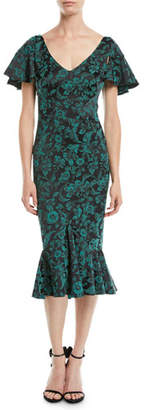 Zac Posen V-Neck Ruffled-Sleeve Floral-Print Cocktail Dress w/ Flared Hem