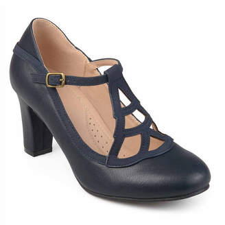 Journee Collection Nile Womens Pumps Buckle Round Toe Block Heel