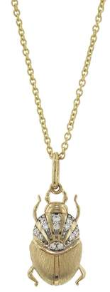 Sydney Evan Scarab Charm On EXT Tiffany Chain Necklace - Yellow Gold