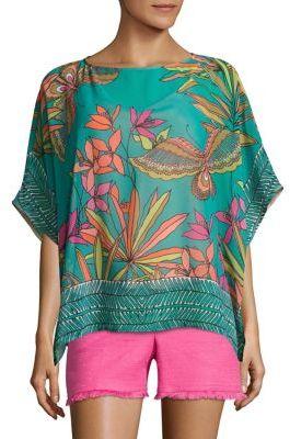 Trina Turk Marelte Silk Cabana Blouse $268 thestylecure.com