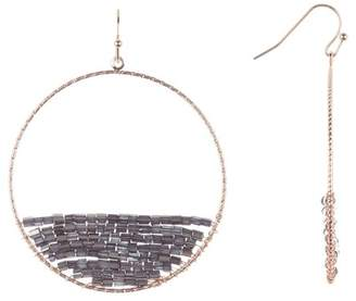 Panacea Charcoal Beaded Hoop Earrings