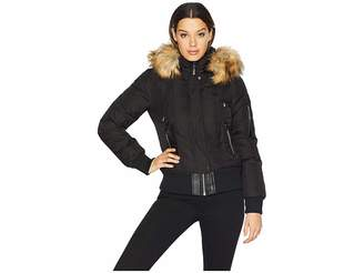 Vince Camuto Short Bomber Down Jacket with Faux Fur Hood R1881