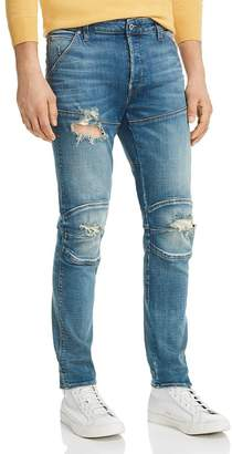 G Star 5620 3D Slim Fit Jeans in Medium Aged Ripped