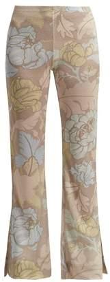 Acne Studios Leaf Print Knitted Trousers - Womens - Beige