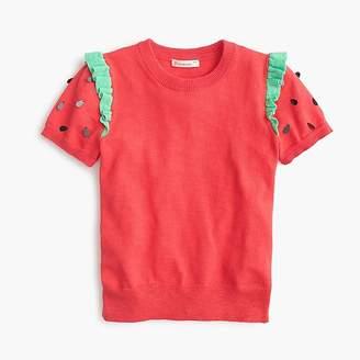 J.Crew Girls' strawberry short-sleeved sweater