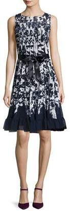 Rickie Freeman for Teri Jon Sleeveless Printed Voile Flounce Cocktail Dress, Blue $460 thestylecure.com