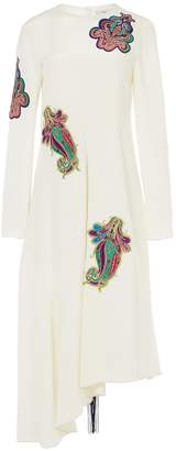 Tibi Silk Paisley Patch Asymmetrical Dress with Fringe