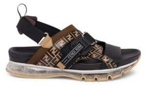 969fdb073 ... Fendi Men s Logo Print Runway Sandals - Brown - Size 10 UK (11 ...