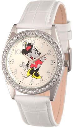 Disney Womens White And Silver Tone Vintage Minnie Mouse Glitz Strap Watch W002764