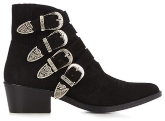 Toga Buckle Suede Ankle Boots - Womens - Black