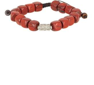 Jean Claude Spiritual Wooden Beads & Engraved Charm Adjustable Bracelet