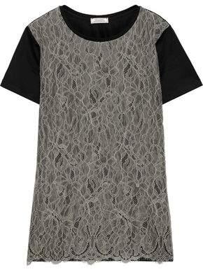 Nina Ricci Chantilly Lace-paneled Cotton-jersey T-shirt