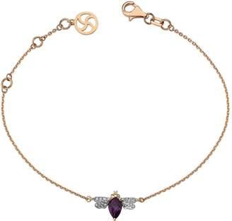 Bee Goddess Amythest and Diamond Queen Bee Bracelet