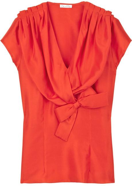 Oscar de la Renta Silk-dupioni blouse