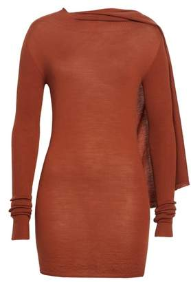 Rick Owens Merino Wool Drape Back Sweater
