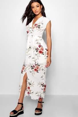 boohoo Pocket Side Front Split Floral Maxi Dress
