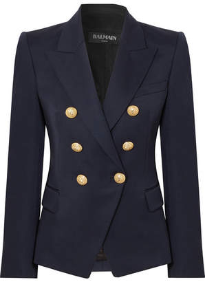 Balmain Double-breasted Wool-twill Blazer - Navy