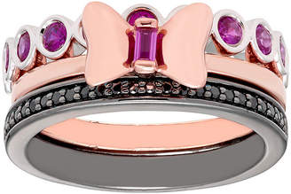 FINE JEWELRY Disney Classics 1/8 CT. T.W. Genuine Red Ruby 18K Rose Gold Over Silver Sterling Silver Minnie Mouse 3-pc. Jewelry Set