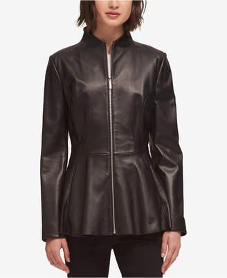DKNY Leather Peplum Jacket, Created for Macy's