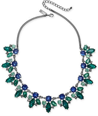 "INC International Concepts I.N.C. Hematite-Tone Multi-Crystal Statement Necklace, 18"" + 3"" extender, Created for Macy's"