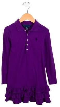 Ralph Lauren Girls' Long Sleeve Polo Dress