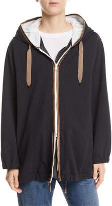 Brunello Cucinelli Silk-Trim Cotton Zip-Front Hoodie
