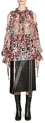 Alexander McQueen Women's Cold-Shoulder Ruffled Silk Top