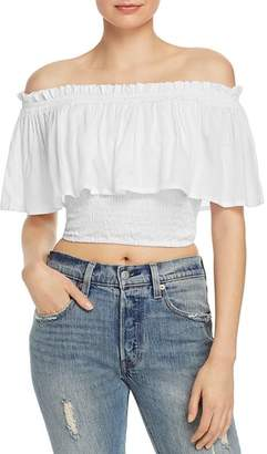 Tiare Hawaii Kylie Off-the-Shoulder Ruffled Cropped Top