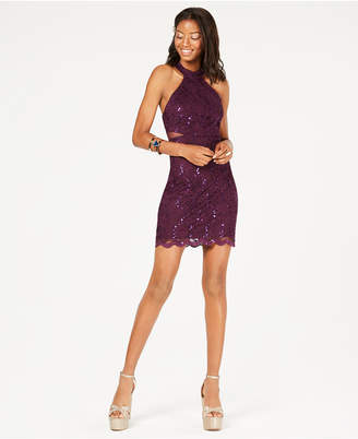 Jump Juniors' Sequined-Lace Illusion Bodycon Dress