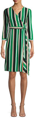 INC International Concepts Petite Striped Knee-Length Wrap Dress
