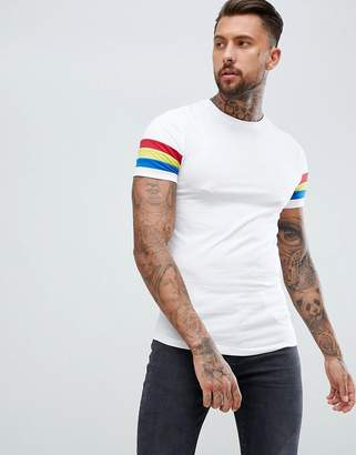 Asos Design DESIGN muscle t-shirt with curved hem and bright contrast sleeve panel