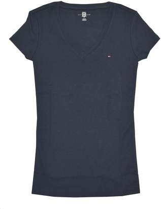 Tommy Hilfiger Womens V-Neck Solid Color Logo T-Shirt - S