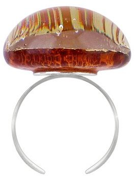 Akuamarina Silver Leaf and Murano Glass Round Open Ring