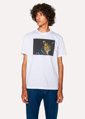 Paul Smith Men's White Organic-Cotton 'Zebra' Print T-Shirt