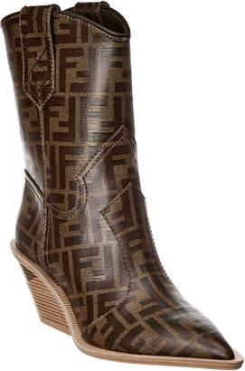 Fendi Ff Logo Canvas Cowboy Boot