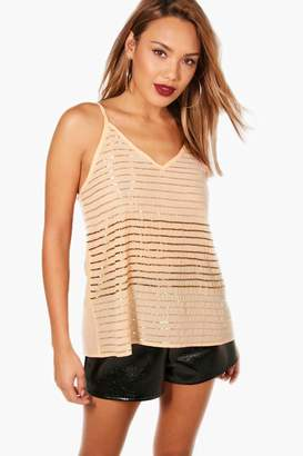 boohoo Embellished Stripe Sequin Cami