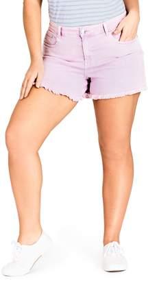 City Chic Fray Hem Denim Shorts