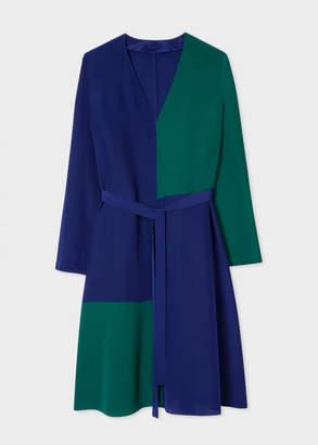 Paul Smith Women's V-Neck Cobalt Blue And Green Colour Block Dress