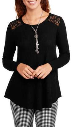 Faded Glory Women's Thermal Tunic with Lace Insets